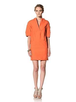 MARNI Women's Short Sleeve V-Neck Dress (Orange)