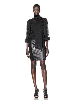 L.A.M.B. Women's Pleated Sleeve Chiffon Blouse (Black)