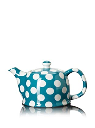 Classic Coffee & Tea White Dots Teapot (Turquoise Blue)