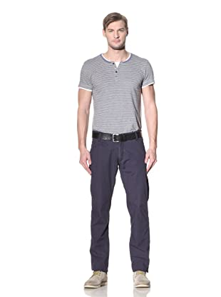 No Excess Men's Pinstripe Flat Front Basic Pant (Navy)