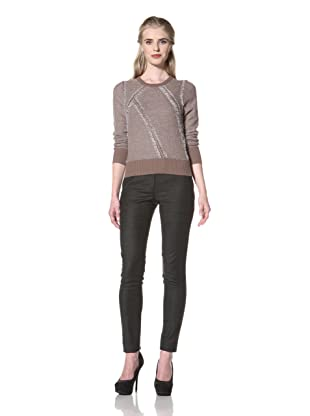 L.A.M.B. Women's Clip Knit Crew Neck Sweater (Taupe/Ivory)