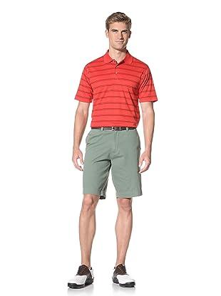 PGA Tour Men's Short Sleeve Stripe Polo (Ribbon Red)