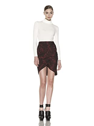Costume National Women's Metallic Tulip Skirt (Red/black)