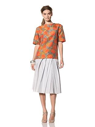 MARNI Women's Abstract Print Short Sleeve Crew Neck Shirt (Orange/Grey Multi)