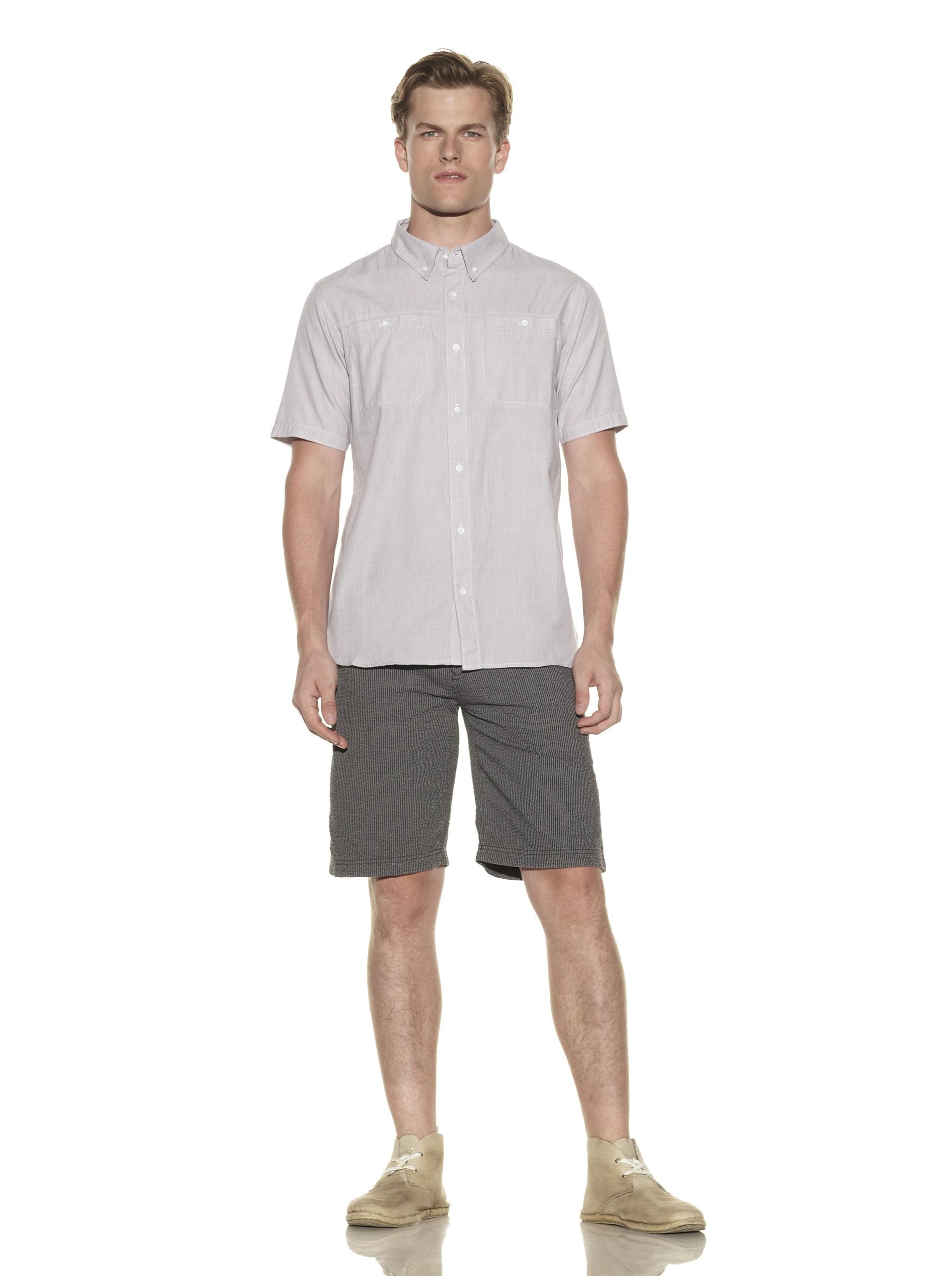 nüco Men's Short Sleeve Woven Chambray Shirt (Grey)