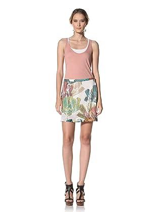 Kenneth Cole Women's Jungle Floral Print Sequin Skirt (Ecru Combo)