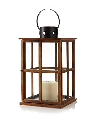 Barclay Butera Equestrian Window Pane Design Lantern (Natural Wood/Clear Glass)
