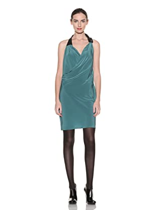Poleci Women's Halter Dress with Leather Strap (Green)