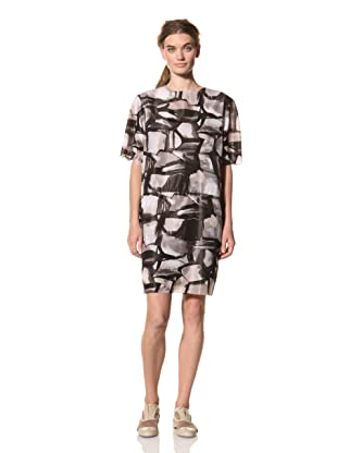 MARNI Women's Abstract Print Short Sleeve Dress (Grey Multi)