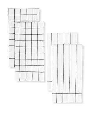 Winkler Set of 4 Classical Range Linen Kitchen Towels (Black)