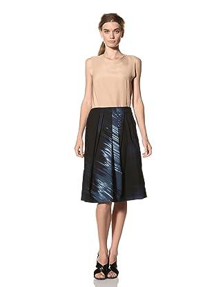 MARNI Women's Abstract Print Pleated Skirt (Dark Blue)