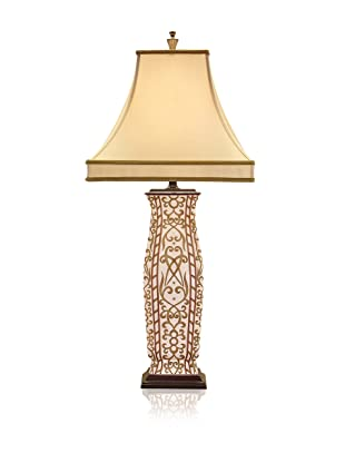 John-Richard Collection Gold and White Pottery Lamp
