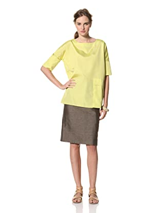 MARNI Women's Short Sleeve Round Neck Top with Pocket (Yellow)