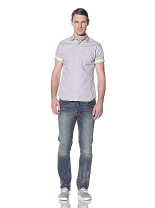 Descendant Of Thieves Men's Seersucker Short Sleeve Woven Shirt (Blue/Pink)
