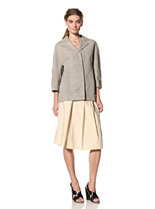 MARNI Women's Notch Collar Canvas Jacket (Cement)