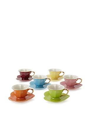 Classic Coffee & Tea Inside Out Heart Cups & Saucers, Set of 6 (Assorted/Gold)