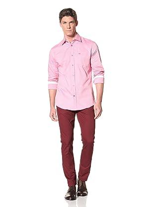 Moods of Norway Men's Kristian Vik Formal Collar Shirt with Tonal Buttons (Light Pink)