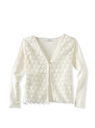 Charabia Girl's Crochet Cardigan (Ivory)