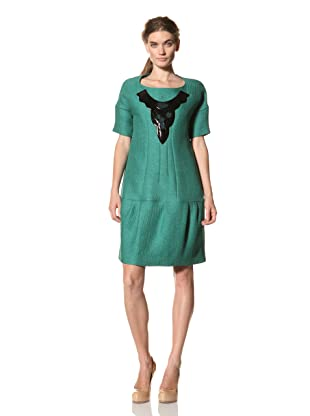 MARNI Women's Short Sleeve Dress with Slight Volume at Hem (Green)