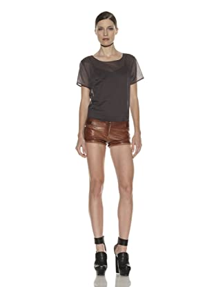 Costume National Women's Leather Shorts (Brown)