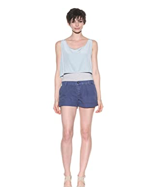 Current/Elliott Women's The Trouser Roll Short (Indigo Linen)