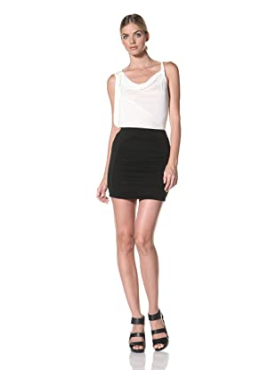 FACTORY by Erik Hart Women's Front Panel Ruched Skirt (Onyx)