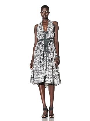 L.A.M.B. Women's Halter Printed Dress (Snow White/Medium Grey/Black)