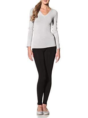 Cosabella Women's Smooth Free Long Sleeve V-Neck Top (Heather Gray)