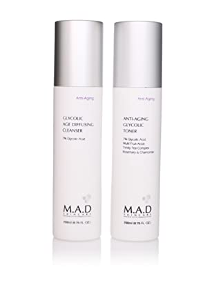 M.A.D Skincare Anti Aging Glycolic Toner and Glycolic Age Diffusing Cleanser Duo