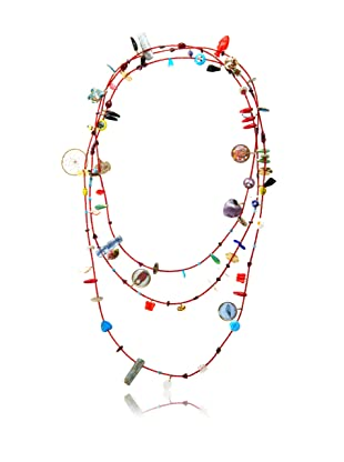 Mercedes Salazar Long Charm Necklace, Red/Multicolor