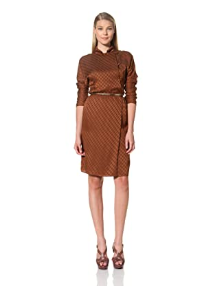 MARTIN GRANT Women's Long Sleeve Dress with Buttons (Cognac)