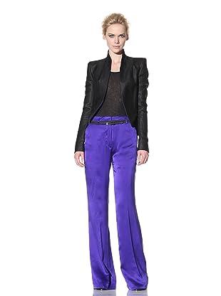 Haider Ackermann Women's Silk Trimmed Cropped Jacket (Black)