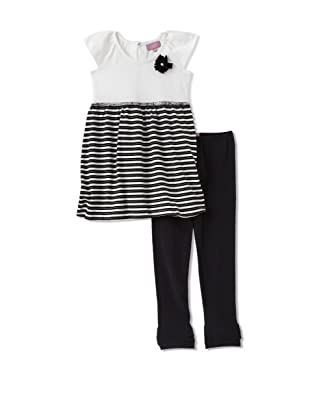 Nicole Miller Girl's Striped Tunic with Leggings (Black)