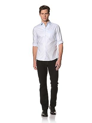 John Varvatos Collection Men's Adjustable Sleeve Slim Fit Shirt with Welt Pocket (Sky Blue)