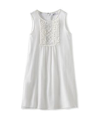 Charabia Girl's Sleeveless Dress with Beading (White)