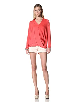 Poleci Women's Drape Long Sleeve Jersey Top (Red Coral)