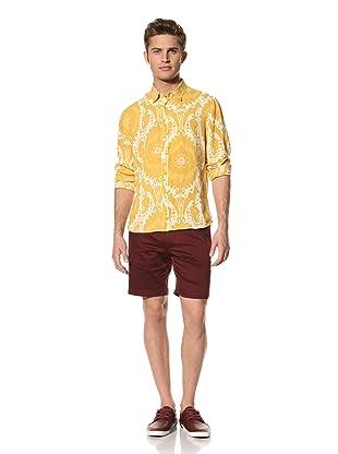 Creep by Hiroshi Awai Men's Long Sleeve Point Collar Linen Shirt (Yellow Paisley)