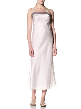 Toute la Nuit Women's Long Slip Gown (Ivory/Grey)