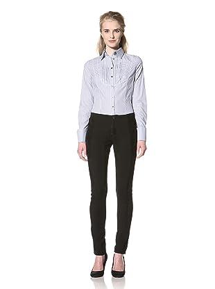 L.A.M.B. Women's Stripe Tuxedo Shirt (Light Blue)