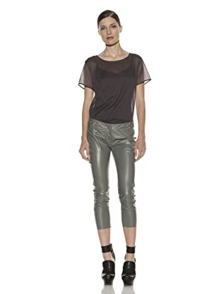 Costume National Women's Leather Capri (Grey)