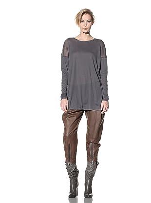 Haider Ackermann Women's Sheer Long-Sleeved Top (Anthracite)