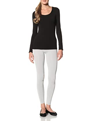 Cosabella Women's Smooth Free Long Sleeve Scoop Neck Top (Black)