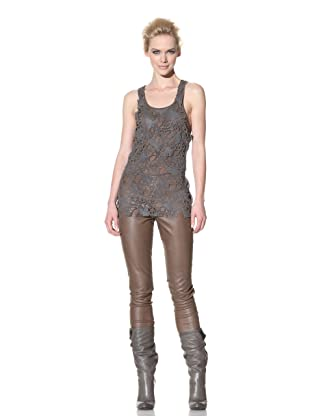 Haider Ackermann Women's Cut Out Leather Tank (Anthracite)