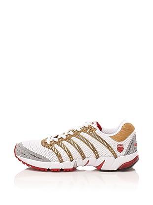 K-Swiss Women's K-Ona Mesh Running Shoe (White/Gold/Silver/Red)