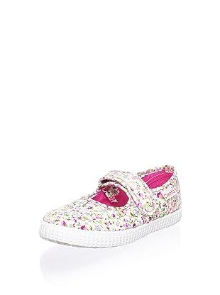 Cienta Kid's Floral Mary Jane Sneaker (Fuchsia)