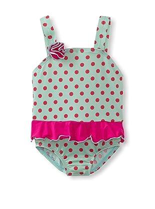 Bathing Beauty by Mack & Co Girl's Polka Dot One Piece Swimsuit (Green/Pink)