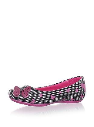 Pampili Kid's Butterfly Dot Flat (Black/New Pink)