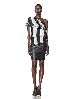 L.A.M.B. Women's Striped One-Shoulder Top (Black/ivory)