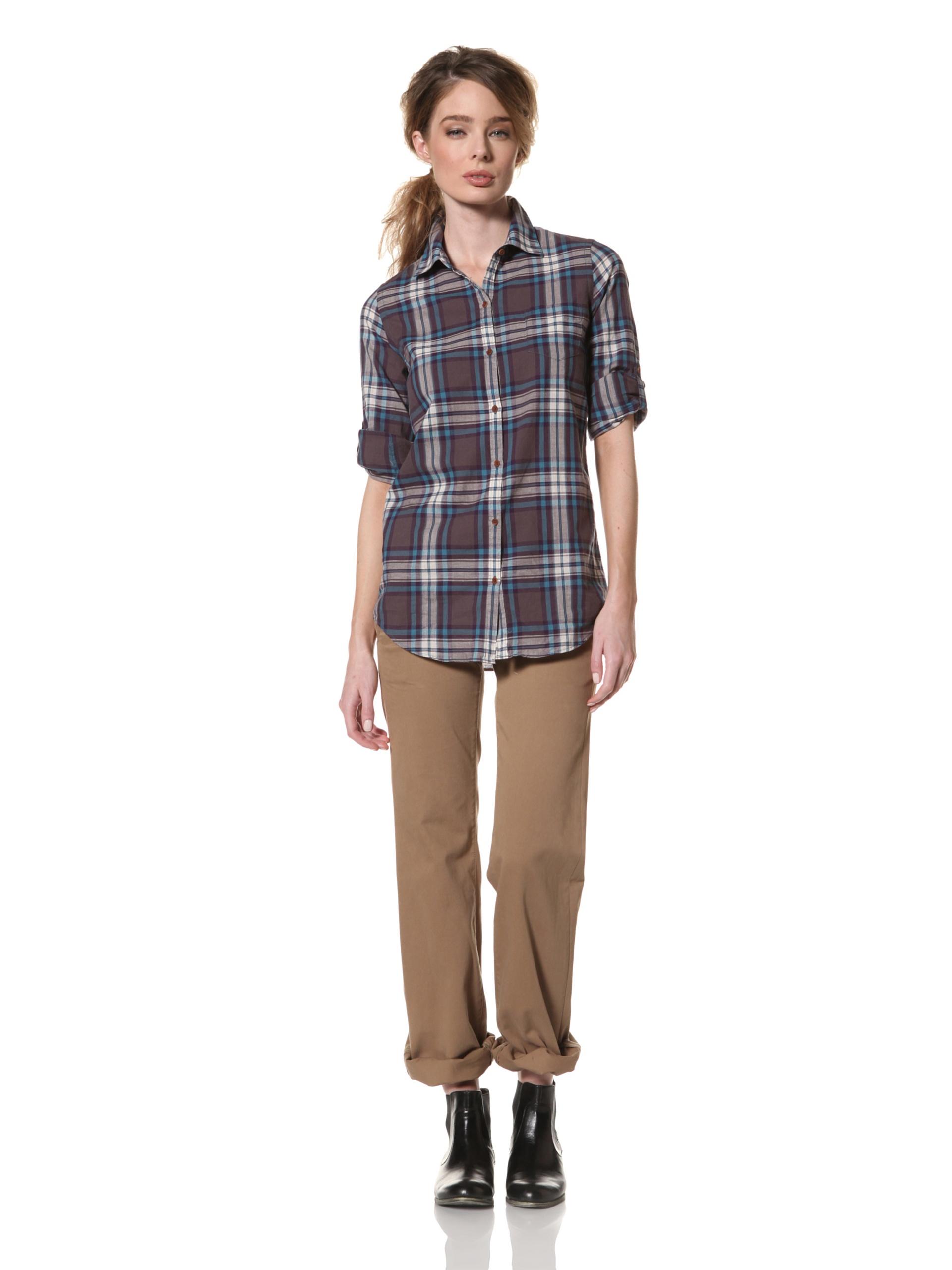 Trovata Women's Amalie Woven Shirt (Grey Plaid)