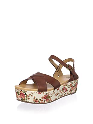 Bass Women's Ophelia Cross Front Flatform Sandal (Cognac/Floral)